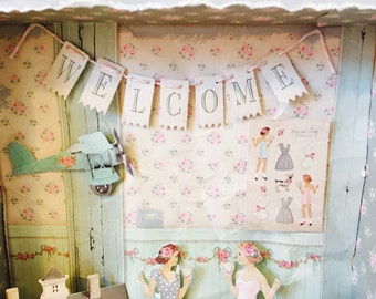 Tilda paper The Corner Shop pad, vintage style paper dolls mixed media shadow box Magical Toy Shop, nursery decor, girls bedroom shabby chic
