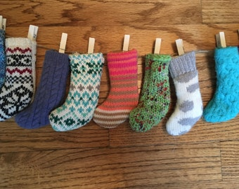 Recycled handmade Advent Calendar with mini knit stockings