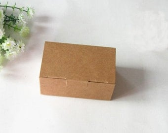 40x Natural Kraft Paper Boxes | Bomboniere Favour Box | Wedding & Christmas Party Gift Boxes Chocolate Bakery Cookie Cake Candy 9.3x5.7x4cm