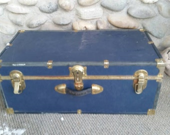 Concourse Navy Blue Rustic Foot Locker Trunk Home Decor Blanket Chest Vintage Suitcase Coffee Table Storage Box