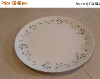 On Sale Vintage Kitchen Princess China Tru-Tone Riviera Pattern 10 inch Dinner Plate with Yellow and Gray Leaves