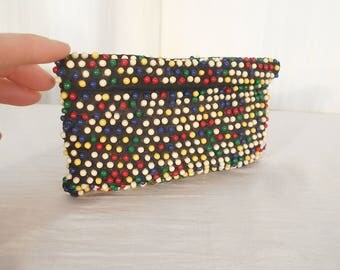 Vintage 1930s Purse - 1940s Beaded Coin Purse, Telephone Cord Clutch, Primary Colors Beads Small Handbag, Art Deco Purse
