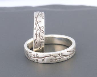 unusual wedding rings sterling silver ring artisan jewelry nature jewelry handmade ring made to order wedding - Unusual Wedding Rings