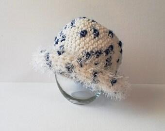 Hand Made White & Blue Crochet Women's Bowler with Orlon Sayelle and Eyelash Yarn