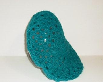 Hand Made Beret Dark Teal Crocheted Women's Beret