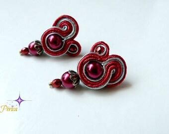 80s earrings, red silver soutache earrings, small earrings, vintage earrings, flamenco earrings, elegant earrings, clip earrings