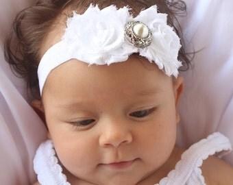 White Headband, Baptism Headband, Rhinestone Headband , Baby Headband, Baby Girls Headband, Newborn Headband, Baby Shower Gift