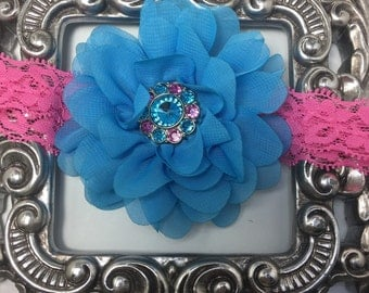 Turquoise headband, turquoise and hot pink headband, turquoise hair flower on hot pink lace headband, girls headband, hair accessory
