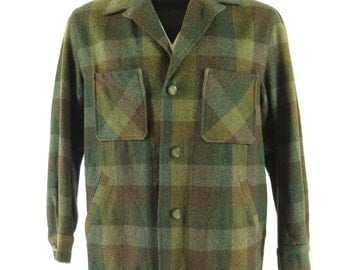 Vintage 50s Field Stream Wool Plaid D Pockets Jacket Mens 42 [H25E_2-1]