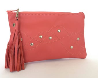 Monroe Leather Pouch:  Coral Pink