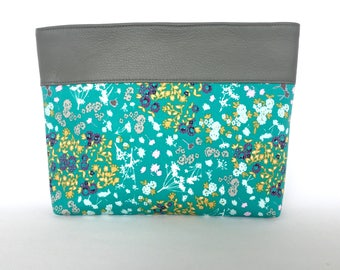 Essie Clutch:  Teal scattered floral with Slate Grey Italian Bovine Leather Trim