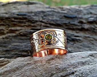 Copper Peridot Ring, Engraved Copper Ring, Copper Band, August Birthstone, Gemstone Ring, Western Ring, Green Stone, Cowgirl Bling, Gift
