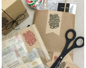 Brown Paper Packages Tied Up With String Stickers - 20pc Set