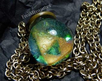 Zelda water globe necklace hypoallergenic chain; magical iridescent geek nerd gamer