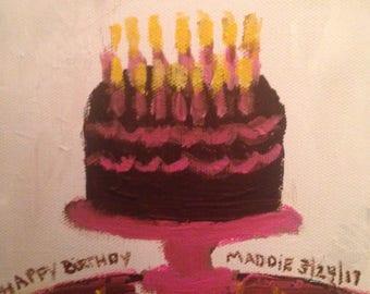 Hand Painted Mini Customized Birthday Cake Paintings.