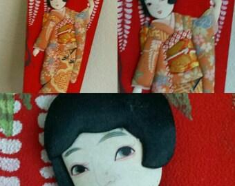 Japanese Hagoita Geisha Paddle Racket Kimono Geisha Vintage