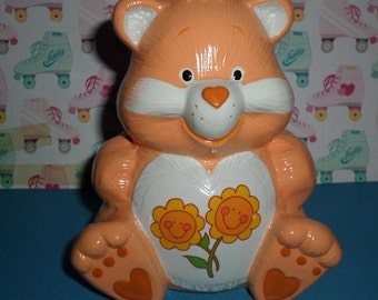 Care Bears Vintage Friend Bear Kids Coin Penny Bank Flowers 80's FUN
