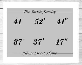 Latitude Longitude Home Sweet Home printable artwork-PRINT ONLY