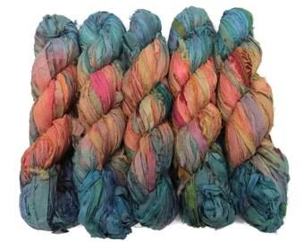 New! Sari Silk Ribbon, 100g ,  50 yards, Sandstone