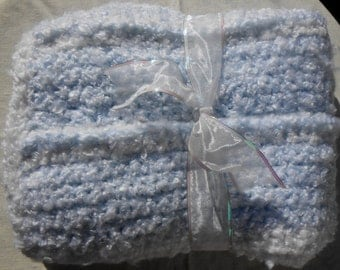 Baby Blue Blanket Hand Crocheted Soft and Cuddley