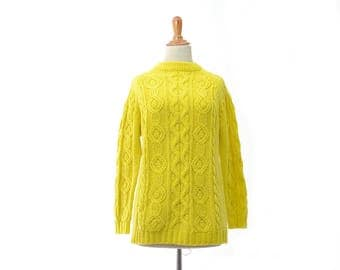 yellow sweater, yellow top, womens clothing, vintage clothing, small sweater