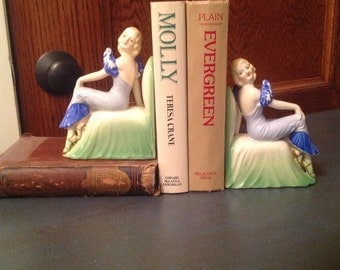Porcelain Victorian Lady Bookends