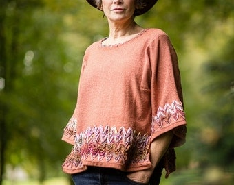 Linen Knit Top in Terracotta with Sari Silk Detail and Kimono Sleeves by Crooked Knitwear
