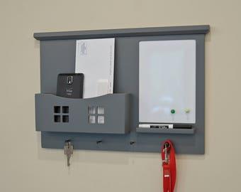 Wall Mail Organizer - Wall Organizer - Mail Holder - Key Rack - magnetic - Dry Erase - Chalkboard - Shelf - Message Center - Entryway