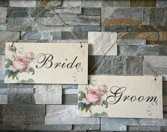 Set of 2 Bride & Groom hanging signs