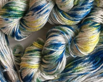 Bamboo silk hand dyed yarn, worsted weight handdyed bamboo silk yarn, handprinted yarn, 102 yds.