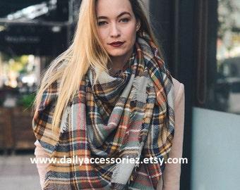 50% OFF | Blanket Scarf, Plaid blanket scarf, Tartan plaid blanket scarf, Zara blanket scarf, Tartan scarf, Oversized scarf, Gift For Her