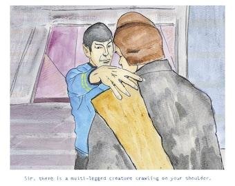 Star Trek Art Print - Spock - Vulcan Nerve Pinch - A Multi-legged creature