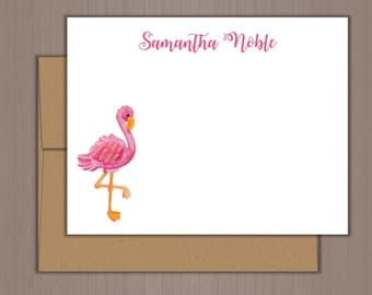 Personalized Note Card Set, Flat Note Cards, Pink Flamingo Note Cards, Personalized Stationery, Personalized Stationary, Thank you Notes