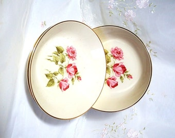Vintage 1950s, Coupe Cereal Bowl, by Taylor, Smith & Taylor, Pink/Red Roses on White, Accented with Gold Rim, TST140