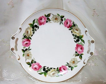 Royal Garden by Royal Worcester Handled Cake Plate,  Pink & White Roses, Gold Verge, Gold Trim