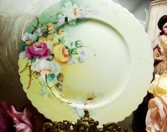 Antique O & E G Royal Austria Plate Burgundy and Yellow and White Roses circa 1899 - 1918