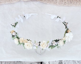 Bridal floral crown, Bridal leaf crown, Bridal headband, flowergirl crown, wedding floral crown , woodland halo, bridal wreath, flower crown