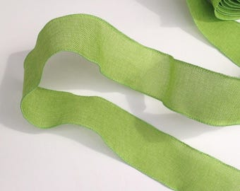 Green apple burlap jute wired ribbon for making bows, garlands and decorations