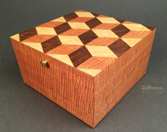 Tumbling Blocks Wood Marquetry Keepsake Box