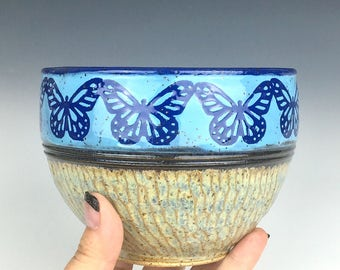 ceramic cereal bowl with butterflies, ceramic prep bowl, blue stoneware bowl, blue butterfly, blue pottery bowl