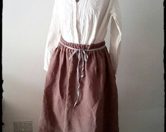 Antique French hemp or chanvre hand made skirt, dyed nutty brown with grey vintage cotton ribbon tie.