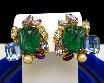 Alice Caviness Fabulous Fakes Book Piece Earrings Rhinestone Art Glass Clip Ons