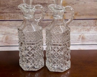 Crystal Oil and Vinegar Decanters with Stoppers