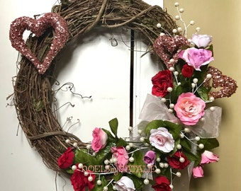 Pink Glitter Heart and Rose Valentine's Day Wreath