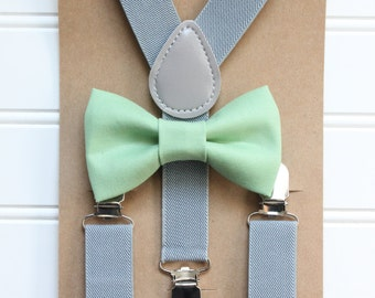Bowtie and Suspenders Set/Asparagus Bowtie/Sage Bowtie/Gray Suspenders/Baby and Toddler Bowties/Birthday and Wedding Sets