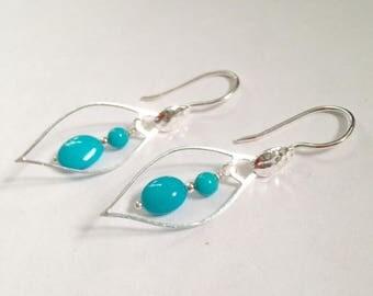 Sleeping Beauty Earrings - Sleeping Beauty Jewelry - Turquoise earrings - Turquoise Jewelry - Robins egg blue jewelry - sterling,Beauty Tear