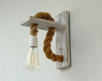 Reclaimed wood sconce with rope, Rope wall lamp  lighting