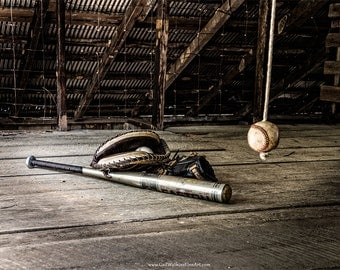 Baseball Photograph, Rustic Baseball Fine Art Print or Canvas Wrap, Baseball Bat, Baseball Glove, Athletic Art Decor