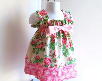 Baby 6-9mo Summer Dress, Baby Dress, Baby Girl Clothing, Pink Floral, Sundress.