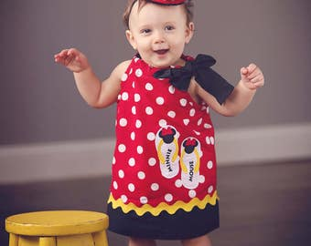 Minnie Mouse dress/ Personalized Minnie Mouse Dress/ Minnie Mouse Outfit/ Minnie Mouse Birthday Dress (matching bag available)